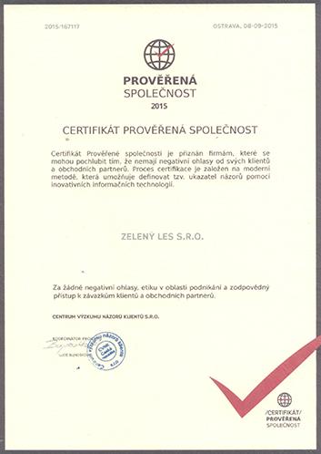 Certifikát Zelený les